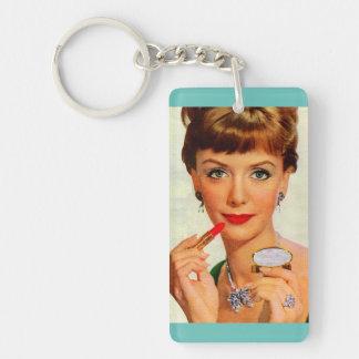 1960s lipstick lady Double-Sided rectangular acrylic key ring