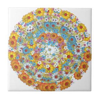 1960s vintage floral flower pattern small square tile