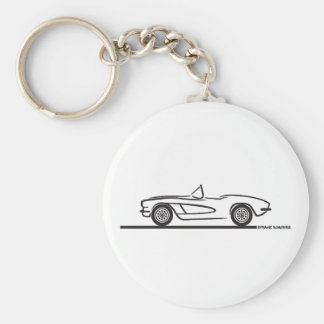 1961 1962 Chevrolet Corvette Basic Round Button Key Ring