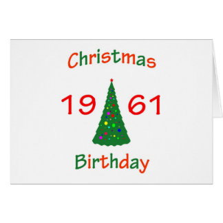 1961 Christmas Birthday Greeting Card