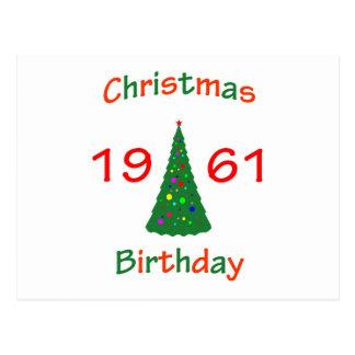 1961 Christmas Birthday Postcard