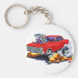 1962-65 Nova Red Car Basic Round Button Key Ring