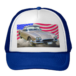 1962 Chevrolet Corvette And American Flag Mesh Hat