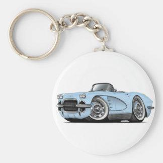1962 Corvette Lt Blue Convertible Basic Round Button Key Ring