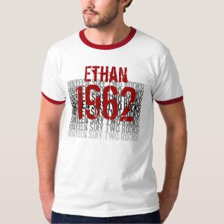 1962 Vintage Birthday Red Black White Custom Name T-Shirt