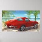1963 Corvette Beach Scene Drawing Poster
