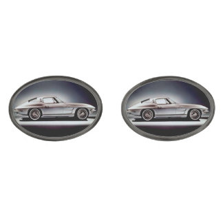 1963 Corvette Sting Ray Gunmetal Finish Cuff Links
