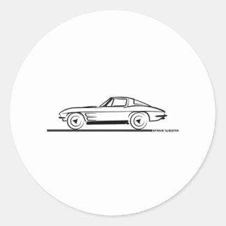 1963 Corvette Sting Ray Split Window Coupe Round Sticker