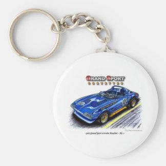1963 Roger Penske Grand Sport Corvette Roadster Basic Round Button Key Ring