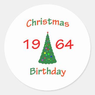 1964 Christmas Birthday Round Sticker