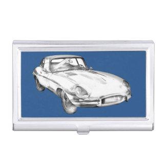 1964 Jaguar XKE Antique Sports Car Illustration Business Card Holder