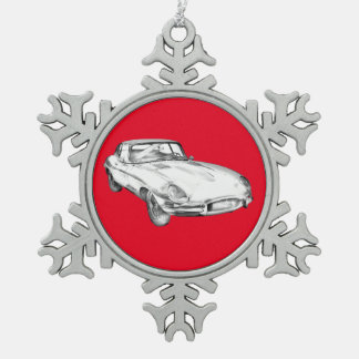 1964 Jaguar XKE Antique Sports Car Illustration Snowflake Pewter Christmas Ornament