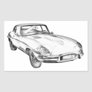 1964 Jaguar XKE Antique Sports Car Illustration Sticker