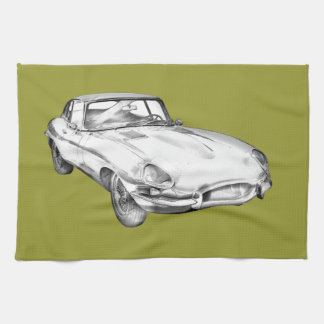 1964 Jaguar XKE Antique Sports Car Illustration Tea Towel