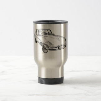 1964 Jaguar XKE Antique Sports Car Illustration Travel Mug