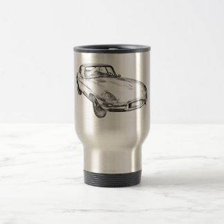 1964 Jaguar XKE Antique Sports Car Illustration Travel Mug