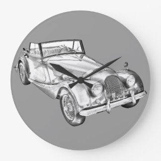 1964 Morgan Plus 4 Sports Car Illustration Large Clock