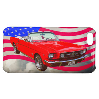 1965 Ford Mustang Convertible And American Flag iPhone 5C Cases