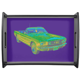 1965 Ford Mustang Convertible Pop Image Serving Tray