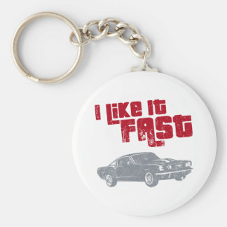 1965 Ford Mustang Fastback Basic Round Button Key Ring