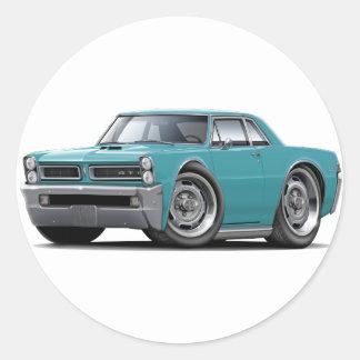 1965 GTO Turquoise Car Round Sticker