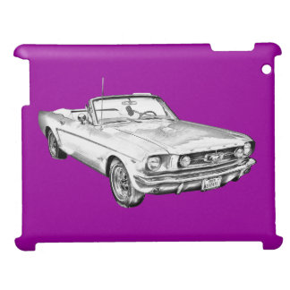 1965 Red Ford Mustang Convertible Digital Drawing iPad Cover