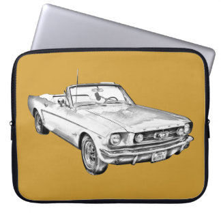 1965 Red Ford Mustang Convertible Digital Drawing Computer Sleeve