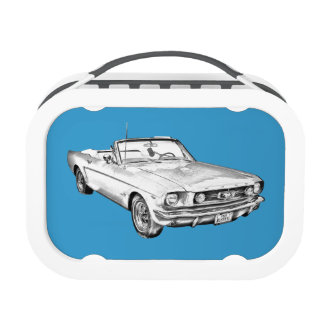 1965 Red Ford Mustang Convertible Digital Drawing Yubo Lunchboxes