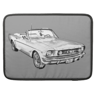 1965 Red Ford Mustang Convertible Digital Drawing Sleeve For MacBooks