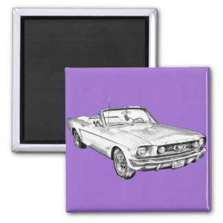 1965 Red Ford Mustang Convertible Digital Drawing Fridge Magnets