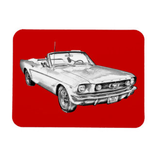 1965 Red Ford Mustang Convertible Digital Drawing Rectangle Magnet