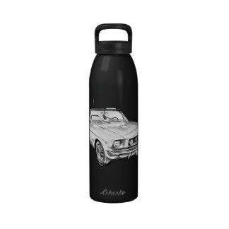 1965 Red Ford Mustang Convertible Digital Drawing Drinking Bottle