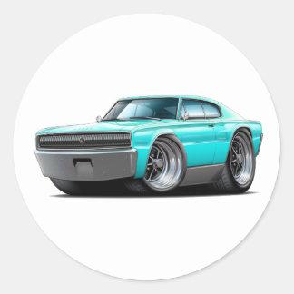1966-67 Charger Aqua Car Round Sticker