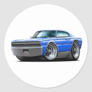 1966-67 Charger Blue Car Round Sticker