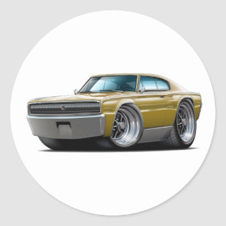 1966-67 Charger Gold Car Round Sticker