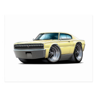 1966-67 Charger Light Yellow Car Postcard