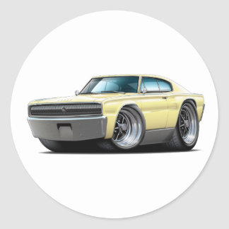 1966-67 Charger Light Yellow Car Round Sticker