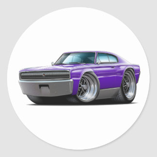 1966-67 Charger Purple Car Classic Round Sticker