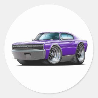 1966-67 Charger Purple Car Round Sticker