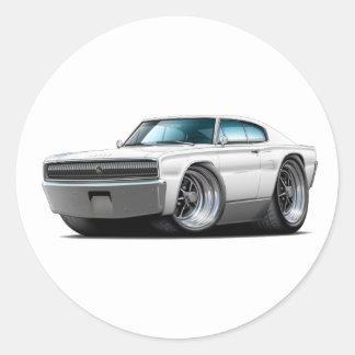 1966-67 Charger White Car Round Sticker