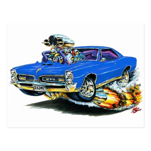 1966-67 GTO Blue Car Post Card