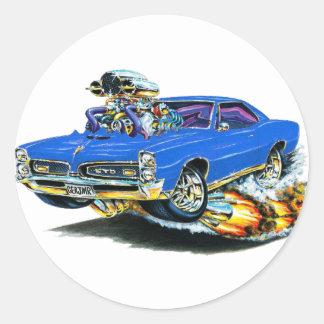 1966-67 GTO Blue Car Round Stickers