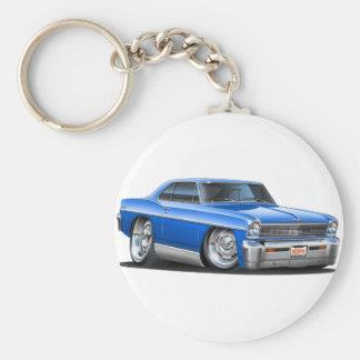 1966-67 Nova Blue Car Basic Round Button Key Ring