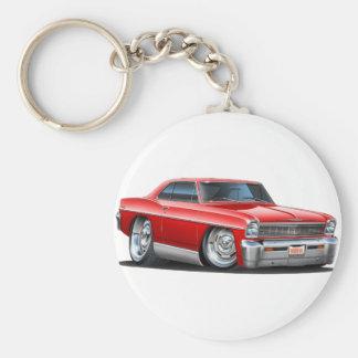 1966-67 Nova Red Car Basic Round Button Key Ring