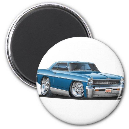 1966-67 Nova Teal Car 6 Cm Round Magnet