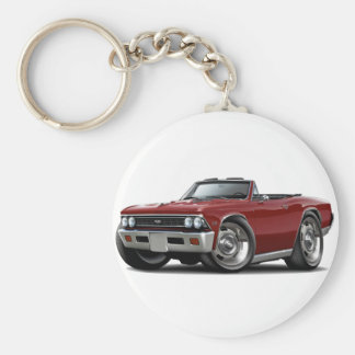 1966 Chevelle Maroon Convertible Basic Round Button Key Ring