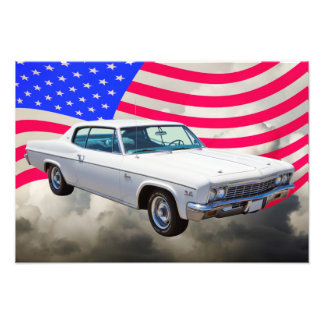 1966 Chevrolet Caprice With American Flag Photographic Print