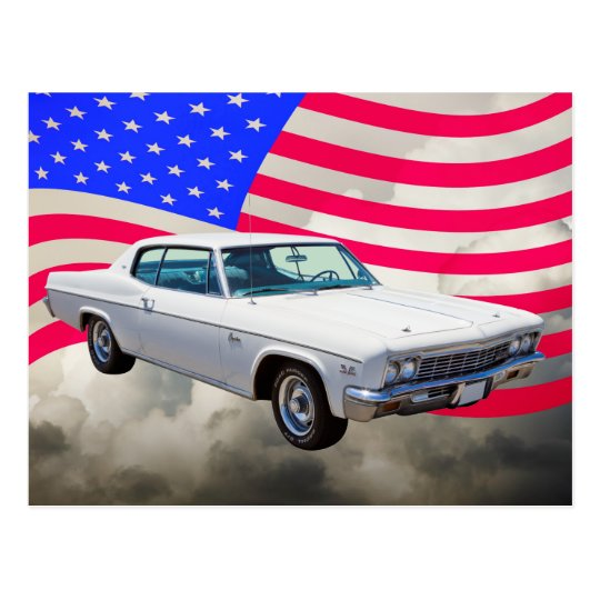 1966 Chevrolet Caprice With American Flag Postcard