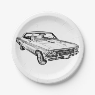 1966 Chevy Chevelle SS 396 Illustration Paper Plate