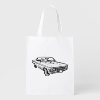 1966 Chevy Chevelle SS 396 Illustration Reusable Grocery Bag